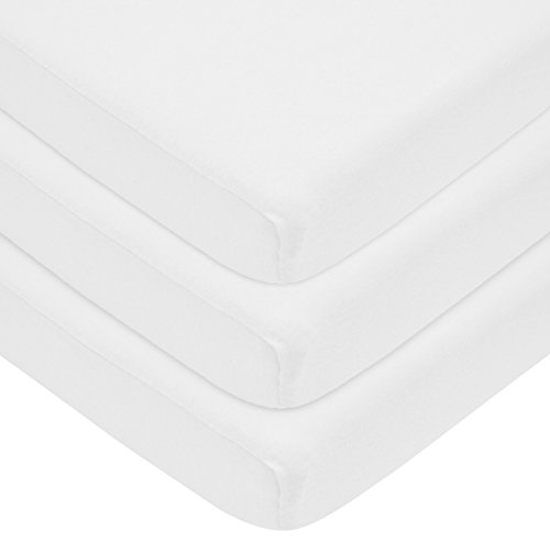 American Baby Company 3 Piece 100% Cotton Jersey Knit Cradle Sheet, Fitted,White, 18