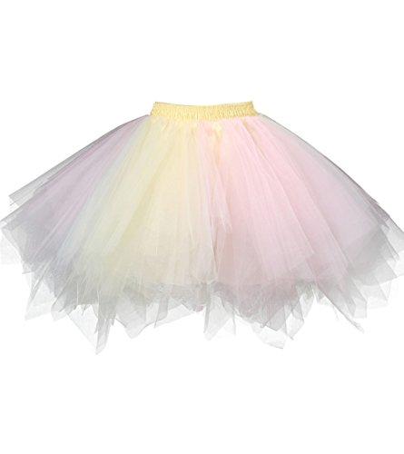 (Dresstore Women's Short Vintage Petticoat Skirt Ballet Bubble Tutu Multi-colored Pink-Yellow L/XL)