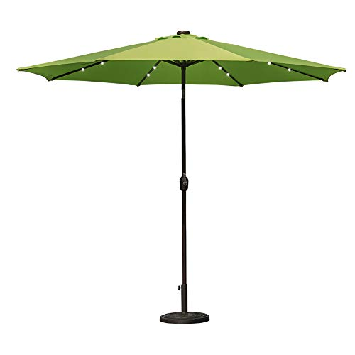 Sundale Outdoor 10 ft Solar Powered 24 LED Lighted Patio Umbrella Table Market Umbrella with Crank and Push Button Tilt for Garden, Deck, Backyard, Pool, 8 Steel Ribs (Apple Green)