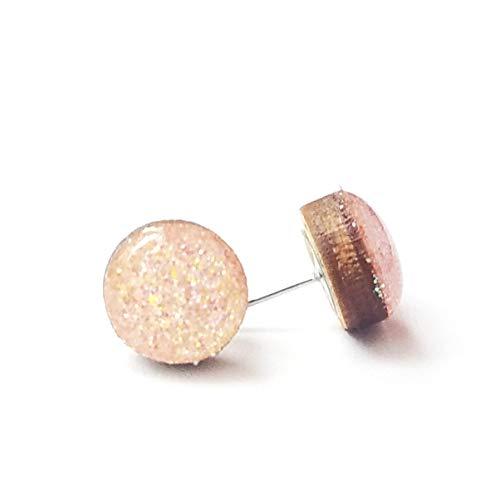 Iridescent Peach - Handmade peach iridescent fine glitter wood stud earrings 10mm hypoallergenic