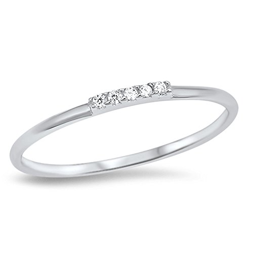 Thin Clear CZ Wedding Ring New .925 Sterling Silver Stackable Band Sizes 3-12