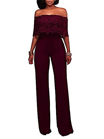 FairBeauty Women Casual Sexy Strapless High Waist Long Pant Wide Leg Ruffle Party Lace Jumpsuit Romper