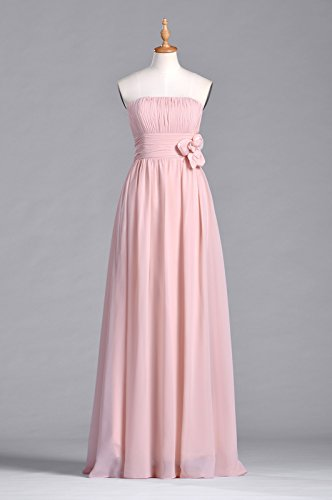 Chiffon Dress A Line Adorona Strapless Women's Pink Long Baby 5OwEYqTAY