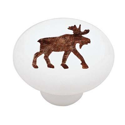 ... Woodland Moose Silhouette Decorative High Gloss Ceramic Drawer Knob