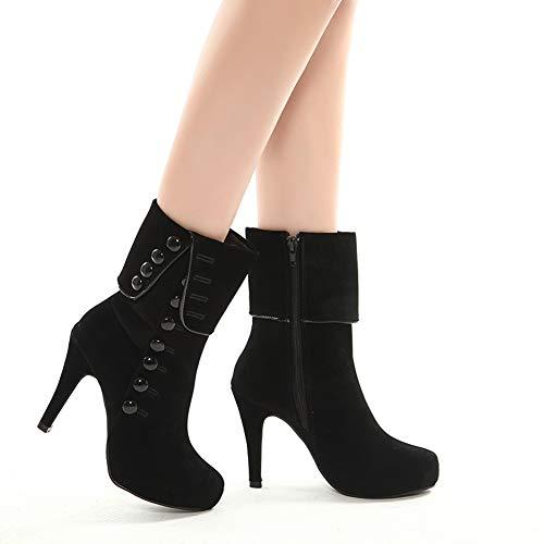 Skanlity Women Platform Boots Red Black Color Woman Winter Boots with Plush  Thin Heels f488b4b42