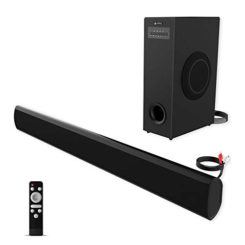 Soundbar with Subwoofer meidong TV Sound Bar with Sub Wired and Wireless Bluetooth Audio Home Theater System for TVs (2.1 Channel, 70W, 37 Inch, Wall Mountable, Remote Control) (37inch-sub)