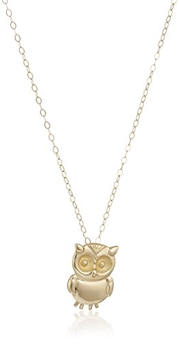 14k Yellow Gold Small Owl Pendant Necklace, 18""