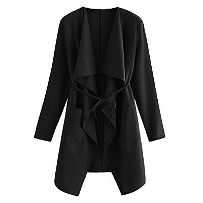 Romwe Women's Raw Cut Hem Waterfall Collar Long Sleeve Wrap Trench Pea Coat Cardigan: Clothing
