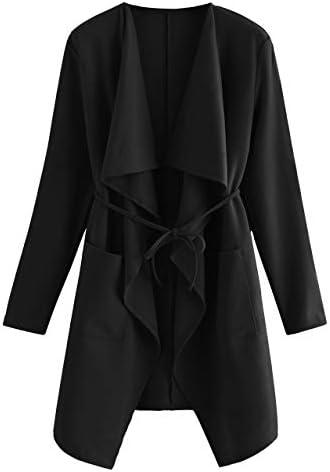 Romwe Women's Raw Cut Hem Waterfall Collar Long Sleeve Wrap Trench Pea Coat Cardigan