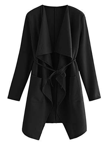 Romwe Women's Waterfall Collar Long Sleeve Wrap Trench Pea Coat Cardigan Black L
