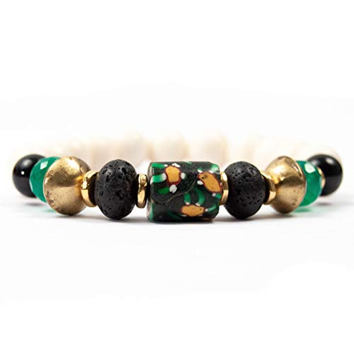 (Black/Green Antique Venetian Millefiori Bead Bracelet with Lava Stone - 7 Inches Long Handmade African Trade Bead Bracelet by Miller Mae Designs)