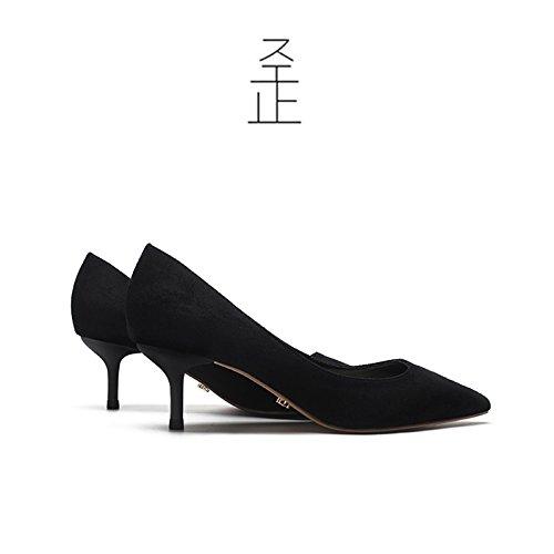FLYRCX y temperamento parte zapata superficial de C finas Primavera zapatos otoño sharp y suede tacón Señoras solo qwqzrTB