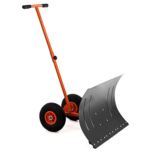 GYMAX Wheeled Snow Pusher, Heavy Duty Rolling Snow Pusher with 29