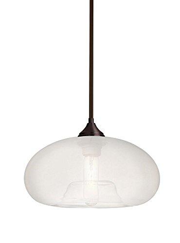 Br Pendant 1 Light Stem (Besa Lighting 1TT-BANAFR-BR Bana - One Light Stem Pendant with Stems with Flat Canopy Stem, Bronze Finish with Frost Glass)