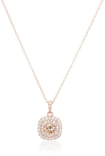 14k Rose Gold Plated Sterling Silver Champagne Cubic Zirconia and White Cubic Zirconia Double Halo Pendant Necklace, 18