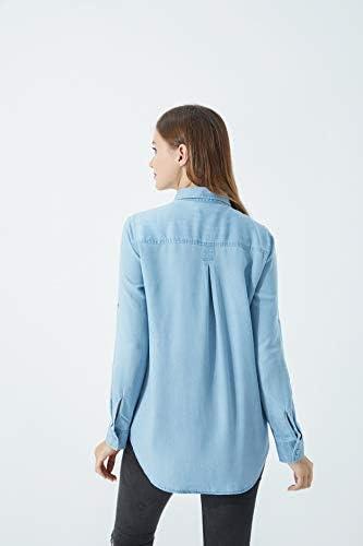Women's Long Sleeve Button Down Denim Shirt with Pockets