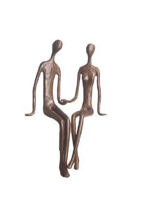 emporary Sand-Casted Bronze Sculpture- Sitting Couple Holding Hands ()