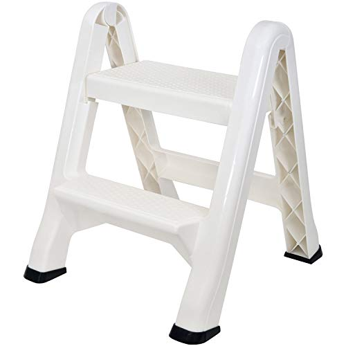 Spigo 2-Tier Step Stool Ladder, Durable Construction, Compact and Lightweight, Perfect Your Home or Workplace, Rust Resistant, One-Handed Operation, 22.5x20.5x19 Inches (White) (Stool Step Construction)