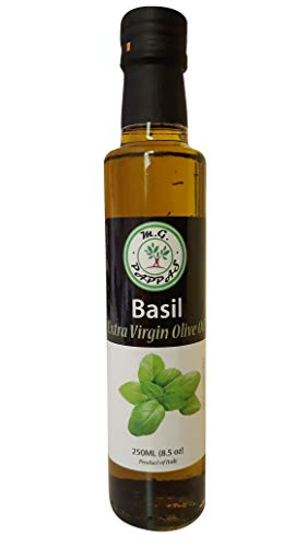 (M.G. PAPPAS Basil EVOO Infused Extra Virgin Olive Oil Fresh First Cold Pressed Infusion 100% Italian Premium Gourmet Taste Mediterranean Diet Foods Herb Single Origin 8.45 fl. Oz 250 ml (BASIL EVOO))