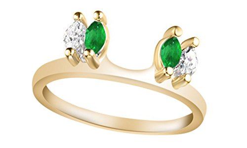 - Jewel Zone US White Natural Diamond & Simulated Green Emerald Enhancer Guard Wrap Wedding Ring in 14k Yellow Gold Over Sterling Silver (1/6 Ct)
