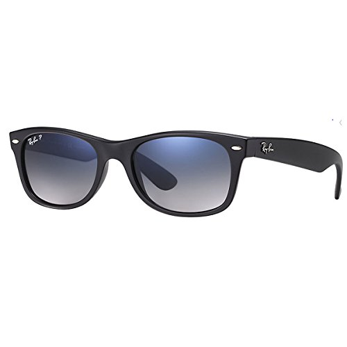 Ray-Ban Unisex New Wayfarer Polarized Sunglasses, Black/Polarized Blue/Grey Gradient, Blue Gradient Grey, - Raybans Sunglasses