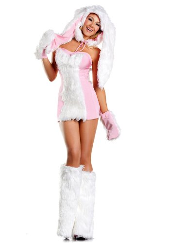 Be Wicked Costumes Women's Blushing Bunny Costume, Pink/White, (Wicked White Rabbit Adult Costumes)