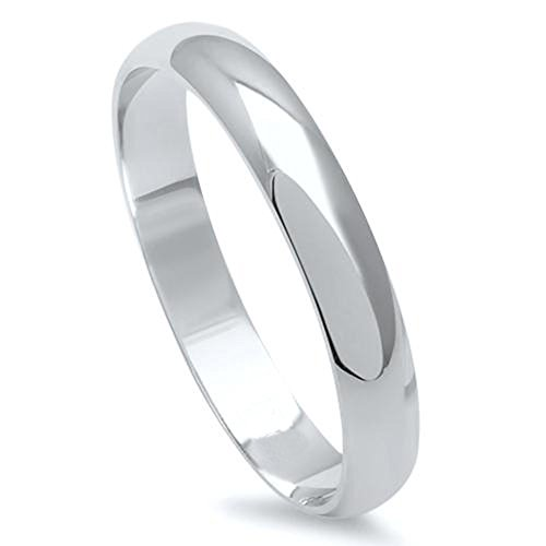 3MM Stainless Steel High Polished Light Comfort Fit Traditional Dome Wedding Band Ring - Crazy2Shop