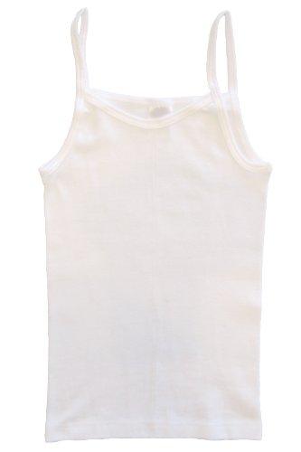 HERMKO 2460 Mädchen Trägerhemd aus 100% EU Baumwolle, Naturfaser-Unterhemd bzw. Top, Farbe:weiß, Größe:164