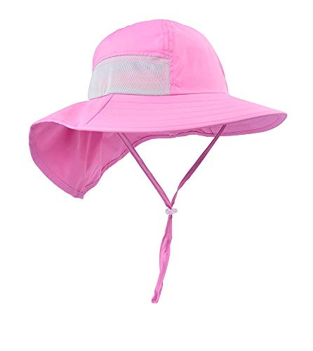 Sun hat for Girl Kids Sun hat Protecting Sun Hats with Neck Flap Coral Pink (Best 5 Panel Hats 2019)