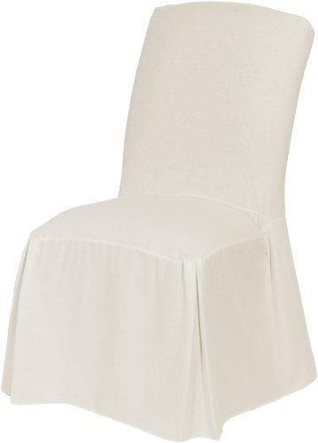 Cotton Dining Room Chair - Classic Slipcovers CSI Cotton Duck Long Dining Chair Slipcover, White