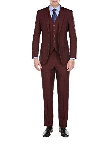 GINO VITALE Gino Vitale Men's GV122-/12 Plaid Check Suits, Burgundy, 42Lx36W price tips cheap