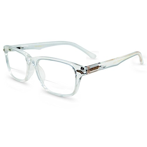 In Style Eyes Seymore Wayfarer BiFocal Reading Glasses Clear - Clear Prescription Glasses Plastic