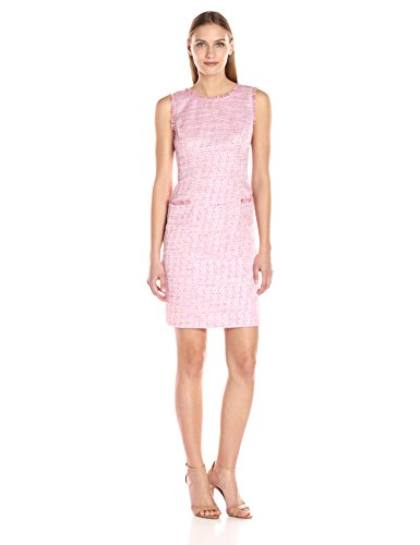 Adrianna Papell Women's Onassis Tweed Trimmed Shift, Pink/Multi, 10