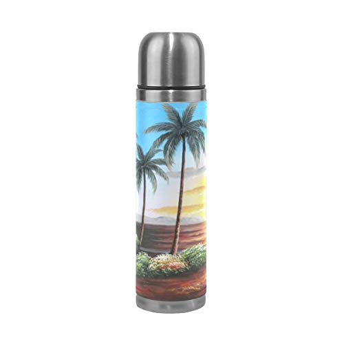 Water Bottle Hawaii Straw Hut with Palm Trees On Sunset Sports Insulated Stainless Steel Water Bottles Leak Proof Double Wall Thermos Leather Cover 17 Oz 500ml -
