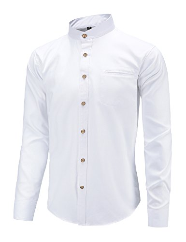 Dioufond Men's Slim Fit Casual Oxford Dress Shirt Banded Collar Long Sleeve Button Down Shirts with Pocket White L