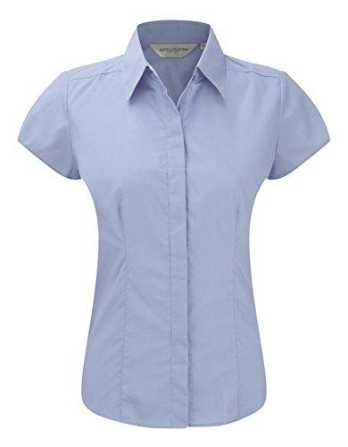 Russell Collection à manches Cap pour femme-T-Shirt en popeline pour homme Entretien facile -  Bleu - X-Small