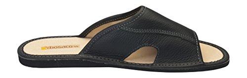 De Confortable Zapatillas Genuino Para Cuero Negro Hombres FCvqg5w