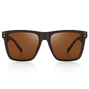 MERRY'S Polarized Sunglasses Men Women Retro Brand Sun Glasses UV 400 (Brown, 52)