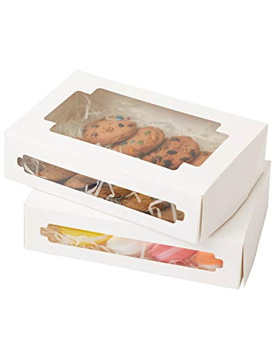 Yotruth Treat Boxes Cookie Gift Boxes White 24 Pack 8x5.3x2