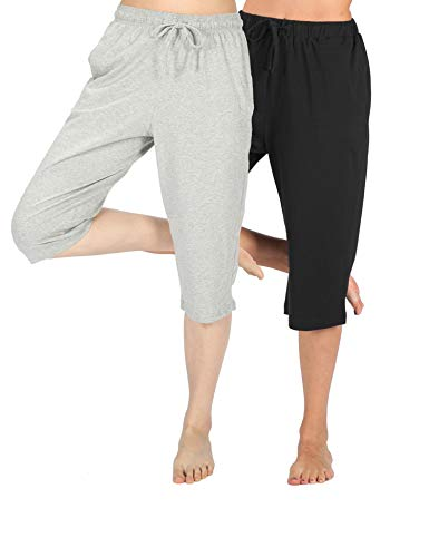 WEWINK CUKOO 100% Cotton Women Pajama Capri Pants Lounge Pants with Pockets Sleepwear