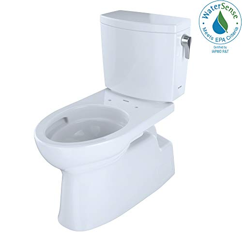 TOTO CST474CUFRG#01 1.0-GPF Vespin II 1G High-Efficiency Toilet, with SanaGloss and Right Hand Trip lever (2 Piece), Cotton ()
