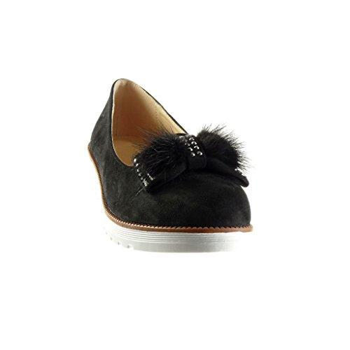 Angkorly - Chaussure Mode Mocassin slip-on femme noeud pom-pom strass diamant Talon compensé plateforme 3 CM - Noir