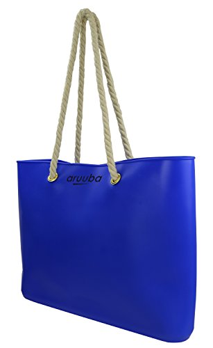 aruuba SIlicon handbag beach bag cotton cord, shoulder bag shopperbag available in three colors Yellow STK Blue
