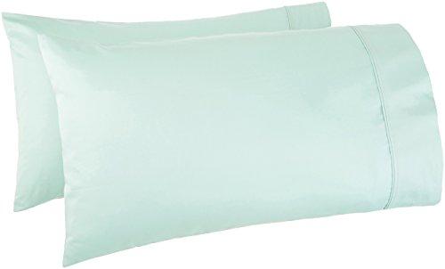 AmazonBasics 400 Thread Count Pillow Cases - King, Set of 2, Seafoam Green