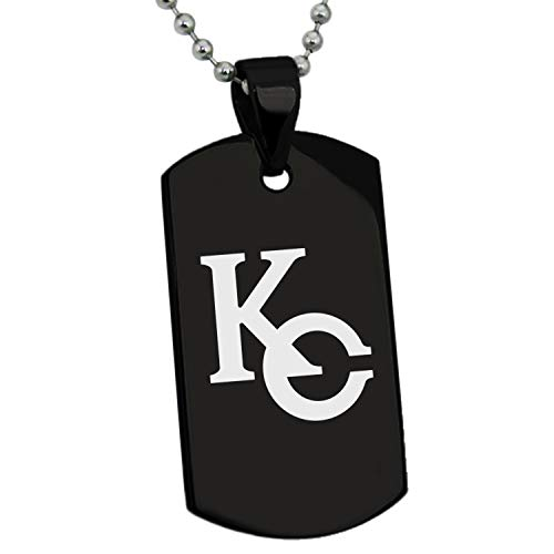 (Tioneer Yu-Gi-Oh! KC Logo Black Stainless Steel Dog Tag Pendant Necklace)