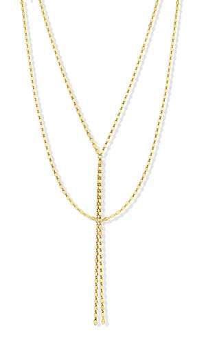 MiaBella Sterling Silver Double Layer Sparkle Y Necklace for Women, Minimalist Lariat Link Chain, 925 Sterling Silver or 18K Gold Over Silver, 18 Inch + 4.25 Inch (Yellow-Gold-Plated-Silver) ()