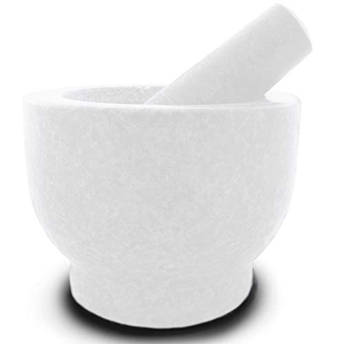 (Mortar and Pestle Made of Marble for the Kitchen Make and Serve Dishes Right At The Table Beautifully. Bonus Include: Avocado Slicer.)