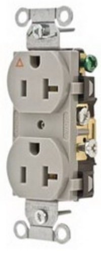 Hubbell Wiring Systems IG5352GY SpikeShield Heavy Duty Specification Grade Straight Blade Isolated Ground Receptacle, 125V, 20A, 1 HP, 2-Pole, 3-Wire, Gray