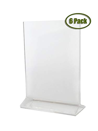 (Pack of 6) Cristil 5x7 Acrylic Menu Holder/Upright Sign Holder/Clear Table Card Display/Plastic Photo Frame/Wedding Picture Stand by Cristil