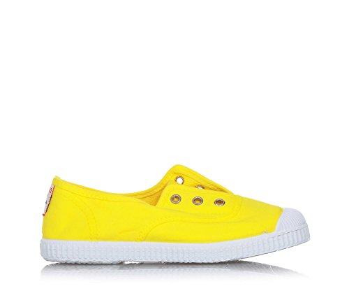 CIENTA - Gelber Schuh aus Stoff, made in Spain, auf der Vorderseite ein elastischer Einsatz, silberne Knopflöcher, Unisex Kinder-21